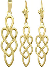 Celtic 10 Karat Yellow Gold Earring & Pendant Set