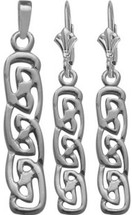 Celtic 10 Karat White Gold Drop Earring & Pendant Set