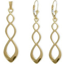 10 Karat Yellow Gold Drop Celtic Earring & Pendant Set