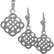 10 Karat White Gold Celtic Knot Pendant & Earring Set