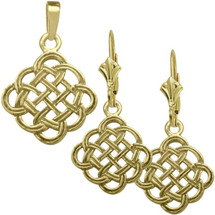 10 Karat Yellow Gold Celtic Knot Pendant & Earring Set