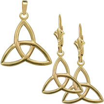 10 Karat Yellow Gold Trinity Knot Pendant & Earring Set