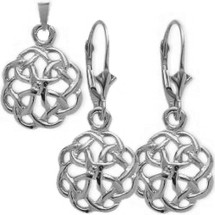 10 Karat White Gold Celtic Knot Earring & Pendant Set