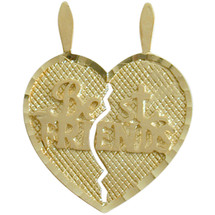 10 Karat Yellow Gold BEST FRIENDS Heart Charm Pendant