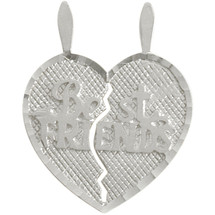 Genuine Sterling Silver BEST FRIENDS Heart Charm Pendant