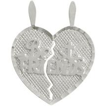 Genuine Sterling Silver BEST FRIENDS Heart Charm Pendant
