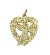 10 Karat Yellow Gold Guardian Angel Heart Charm Pendant