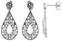 Genuine Sterling Silver Diamond Drop Earrings