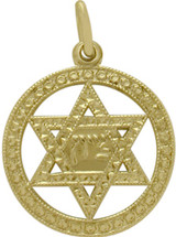 14 Karat Yellow Gold Round Star Of David Pendant