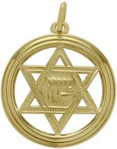 14 Karat Yellow Gold Large Round Star Of David Pendant