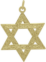 Medium 14 Karat Yellow Gold Star Of David Star Pendant