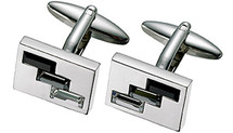 Stainless Steel Austrian Crystal High Polish Cuff Links