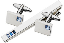 Stainless Steel Blue Austrian Crystal Tie Pin & Cuff Link Set