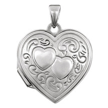 Genuine Sterling Silver Double Heart Locket