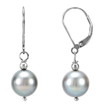 Genuine Sterling Silver Grey 10 - 11mm Freshwater Cultured Pearl Earrings