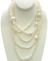 80 Inch Round White Freshwater Pearl Strand Necklace