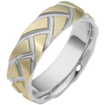 Designer 14 Karat Carved Two-Tone Gold Unique Wedding Band