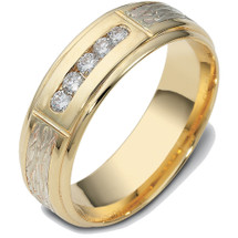 Designer 14 Karat Two-Tone Gold Channel Set Multi Texture Diamond Wedding Band