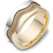 Designer 14 Karat Two-Tone Gold Multi Texture Unique Wedding Band