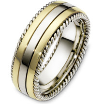 8mm Multi Texture 14 Karat Two-Tone Gold Wedding Band