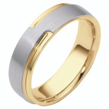 Unique 14 Karat Two-Tone Gold Overlay Comfort Fit Wedding Band