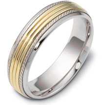 6mm Comfort Fit Yellow Gold & Titanium Wedding Band Ring