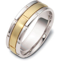 7mm Comfort Fit Yellow Gold & Titanium Link Style Wedding Band Ring