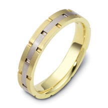 4mm Comfort Fit Yellow Gold & Titanium Link Style Wedding Band Ring