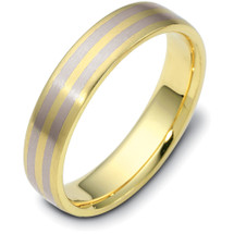 Traditional Style 5mm Two-Tone Gold Comfort Fit Wedding Band Ring