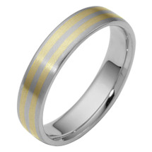 Traditional 5mm Two-Tone Gold Comfort Fit Wedding Band Ring