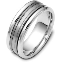 Thick 8mm Wide Titanium & White Gold Wedding Band Ring