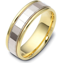 7mm Multi-Texture Yellow Gold & Titainum Wedding Band Ring