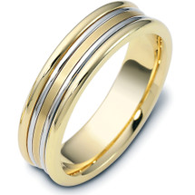 6mm Two-Tone Gold Comfort Fit Wedding Band Ring