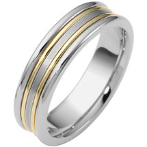 Two-Tone Gold 6mm Comfort Fit Wedding Band Ring