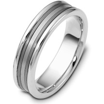 6mm Wide Titanium & White Gold Wedding Band Ring