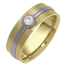 6mm Designer Two-Tone Gold Diamond Comfort Fit Wedding Band Ring