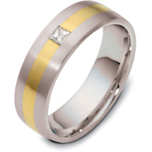6mm Princess Cut Diamond Titanium & Yellow Gold Wedding Band Ring