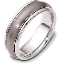 7mm Titanium & White Gold Wedding Band Ring