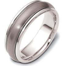 7mm Titanium & White Gold Wedding Band Ring