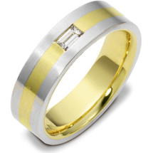 6.5mm Titanium & Yellow Gold Straight Diamond Baguette Wedding Band Ring