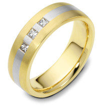 6mm 3 Princess Cut Diamond Titanium & Yellow Gold Wedding Band Ring