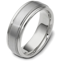7mm Multi-Texture White Gold Wedding Band Ring
