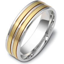 Titanium & Yellow Gold Multi-Texture 6.5mm Wedding Band Ring