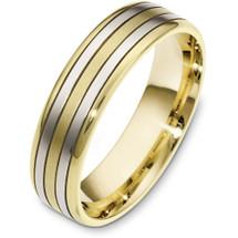 Classic 6mm Yellow Gold & Titanium Wedding Band Ring