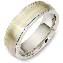Classic 7mm Wide Titanium & Yellow Gold Wedding Band Ring