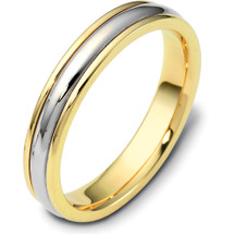 4mm Titanium & Yellow Gold Wedding Band Ring