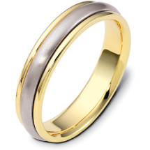 Stylish 5mm Titanium & Yellow Gold Wedding Band Ring