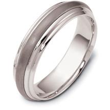5.5mm Stylish Titanium & White Gold Wedding Band Ring