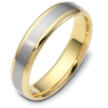 5mm Wide Titanium & Yellow Gold Wedding Band Ring