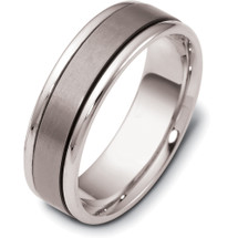 6.5mm Titanium & White Gold Flat Style Wedding Band Ring